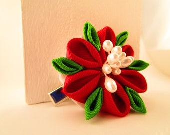 Red & Green Kanzashi Flower Hair Clip