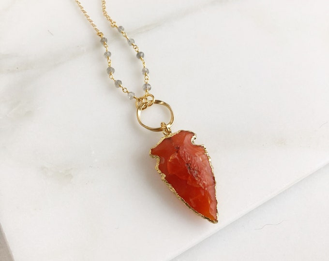 Burnt Orange Arrowhead Necklace with Labradorite beading. Long Boho Style Arrowhead Necklace with Gemstone Beaded Chain. Bohemian Necklace.