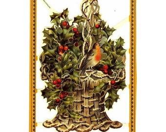 England Paper Scraps Die Cut Embossed Victorian Bird In Christmas Holly Basket  A-177