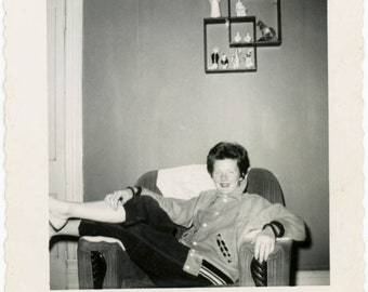 1954 Red Hair Ginger Lady Red Lipstick Mid Century Legs Up vintage photo