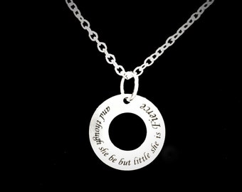 Gift For Her, Shakespeare And Though She Be But Little She Is Fierce Necklace, Gift Daughter Quote Necklace