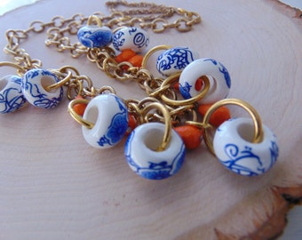 Brass Ceramic Necklace