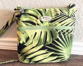 Double Zipper Cross Body Bag,  Palm Cross Body Bag, Travel Bag, Shoulder Bag, Tropical Handbag in Palm Frond Print