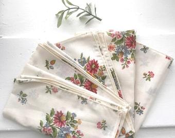 Set of 5 vintage floral napkins | boho decor