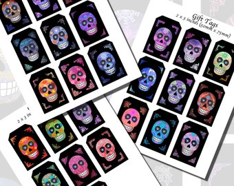 Skulls, Dia de Los Muertos Calaveras, Colorful Background: GIFT TAGS (2 x 3 inches)