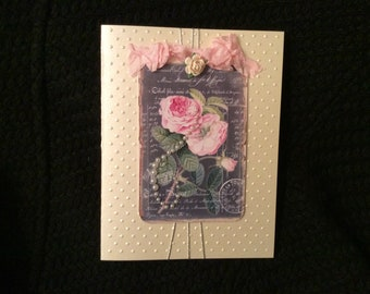 Roses with Pearls Card Birthday Anniversary Get Well Friendship