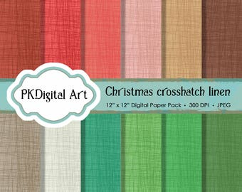 "Crosshatch Linen Digital Paper - ""Christmas Crosshatch Linen""  Scrapbook Paper Crafting Supplies Canvas Backgrounds in Holiday Colors"