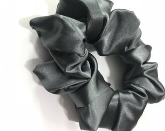 Gray Satin Scrunchie- Hair Accessories- Boho- Hippi Style