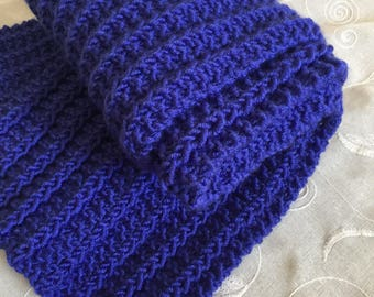 Hand knit blue scarf, knit extra long chunky scarf, neck wrap, infinity wrap, winter spring birthday gift scarf, hand knit items