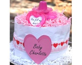You Fill My Heart Diaper Cake - Personalize - 2 Tier Cake - February Baby Girl Shower