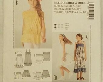Burda 9469 - Girls Dress, Shirt, and Skirt Pattern - UNCUT - Summer and Sleeveless Dress Pattern - Sizes 7 to 13