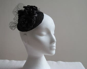 Black Vintage Style Fascinator with Black Flowers and Black Netting