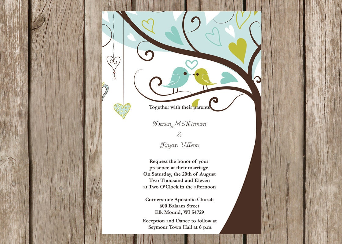 Love birds in a tree wedding invitation customizable zoom monicamarmolfo Gallery