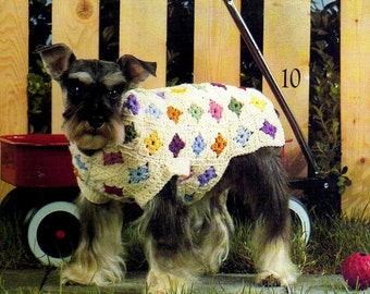 vintage crochet pattern granny square dog puppy sweater coat cathedral window printable PDF Instant Download 12 Sizes Included