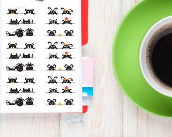 Cute Peeping Animals Planner Stickers | Cats Stickers | Dogs Stickers | Funny Animals (S-136)
