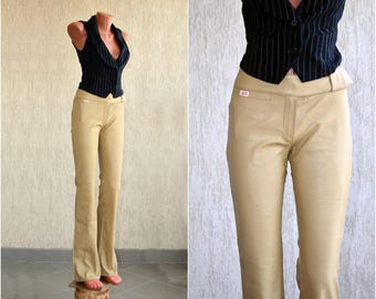 Vintage MISS SIXTY Leather Pants XS S -  W 27 - L 34 Faux Beige Trousers High Waist Casual Wear