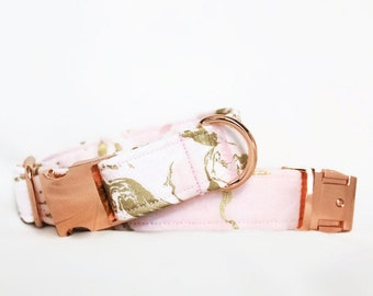 Champagne Marble Dog Collar / Pink Gold