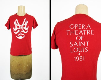 Vintage 80s Saint Louis Opera T-shirt 1981 Performance Theatre Red Tee Made in USA - Small