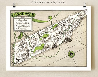 TENNESSEE MAP PRINT - framable vintage pictorial map - perfect gift idea - personalize it - size and color choices - southern home decor