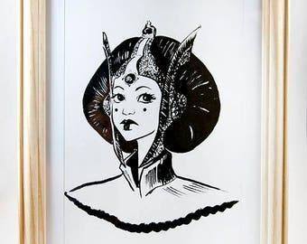 Padme Amidala Fanart _ Star Wars _ A5 illustration Print