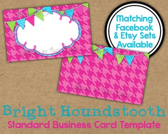 Pink Business Card - 2 sided Pink Houndstooth Business Card - Standard Business Card Template - Party Planning Business Card