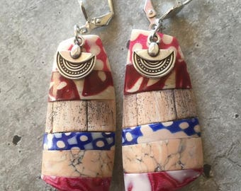 polymer clay earrings pair - wood -  new