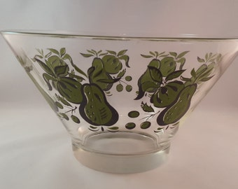 Mid Century Glass Bowl with Green Fruit Print