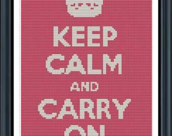 Cross Stitch Pattern Keep Calm and Carry On 6x8.6in (LG0012)