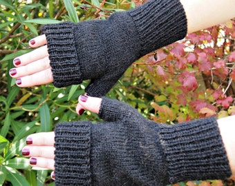 Fingerless Gloves Mitts Alpaca PDF knitting pattern