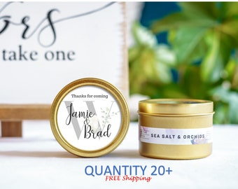 Personalized Favors, Candle Wedding Favors, Gold Tin Custom Personalized Candles, Summer Wedding, Favors for guests, Wedding Candles