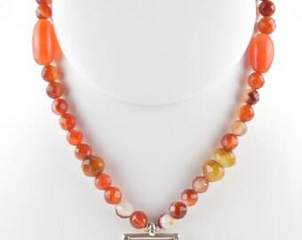 Carnelian Necklace with Framed Stamp Pendant