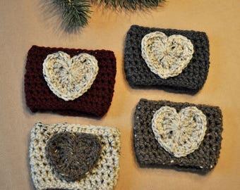 Coffee Sleeve, Cup Cozy, Reusable Coffee Cozy, Heart, Crochet Coffee Sleeve, Crocheted Cozy, Coffee Cozy, Reusable Sleeve, Drink Sleeve