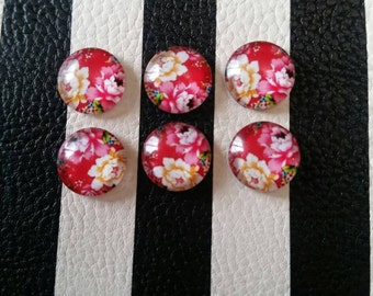 12mm Flower Glass Cabochon