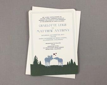 Kissing Moose Rustic Barly and Hops Mountain Wedding 5x7 Invitation