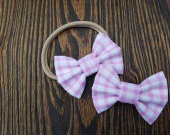Pink gingham hair clip headband
