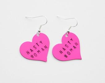 Nasty Woman Earrings, Pink Heart Earrings, Nasty Woman Jewelry, Feminist Earrings, Feminist Jewelry, Women's Rights, Women's March Earrings