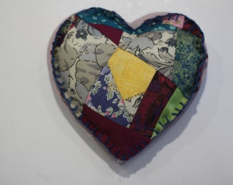 Crazy Patchwork Heart Magnet with Teal Edging