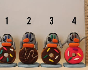 Statue= Donut Penguin -Polymer Clay-