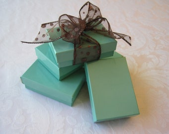 10 Gift Boxes, Jewelry Gift Box, Kraft Boxes, Wedding Favor Boxes, Bridesmaid Gift Box, Teal Blue, Aqua Blue, Small Gift Box 3x2x1