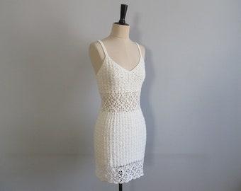 White crochet mini dress, vintage minidress