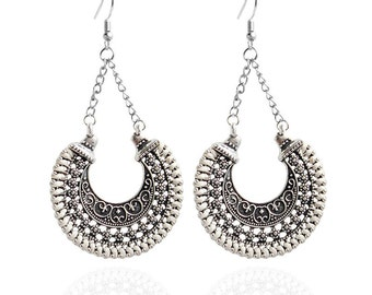 Silver/White Dangle Earrings