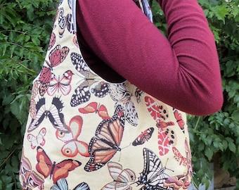 Jacquard gobelin with butterflies pattern handbag