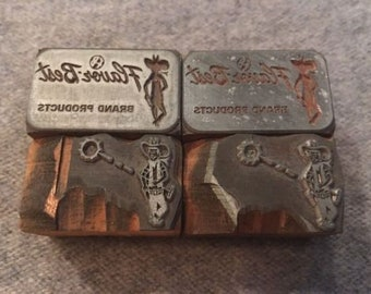Lot of 4 Vintage Letterpress Printer Block Flauor Best Brand Western Cowboy Type