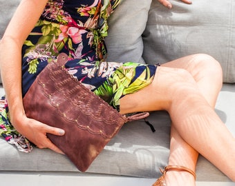 TROPICAL WINDS. Brown leather clutch / brown leather wristlet / brown leather purse / brown leather pouch. Available in other leather colors