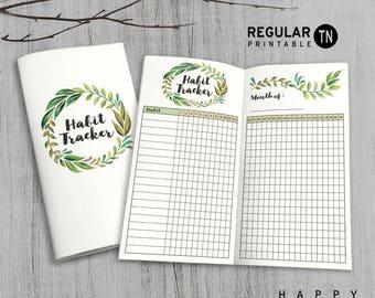 Printable MTN Insert - Regular Habit Tracker Insert - Midori Habit Tracker insert, Traveler's Notebook Insert - Green Leaves