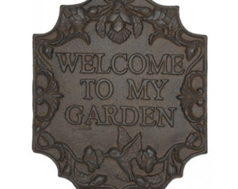 welcome to my garden sign cast iron vintage, French Country Cottage, shabby chic,cottage chic,mid century