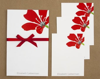 Notepad and Note Card Stationery Set - Romance Red Flowers