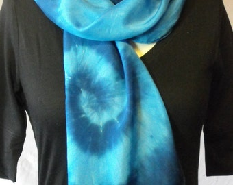 Silk Scarf in Seawave Blue