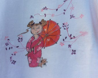 """""""Spring"""" on light pink tee, size 2-3 years"""