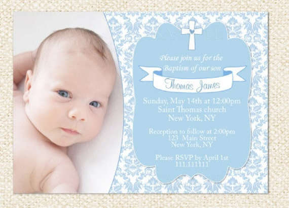 Blue Baptism Invitation Boy Baptism Invitation Boy